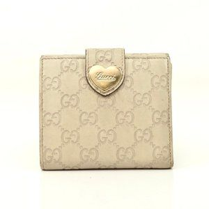 Auth Gucci Wallet White Leather #5472G40